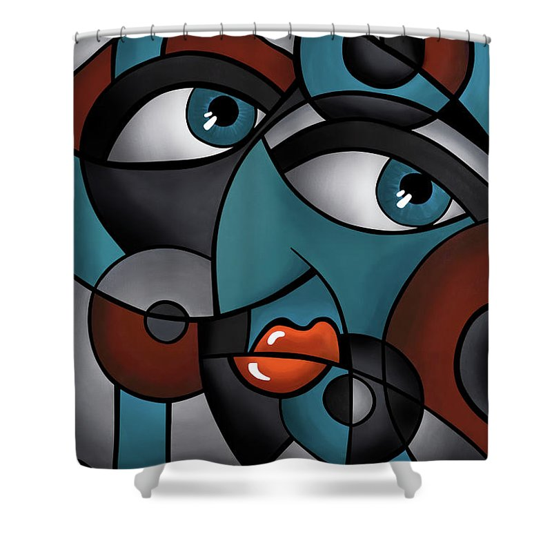 Abstract Paintings Shower Curtain featuring the painting Head Spin by Sonia Wilkinson
