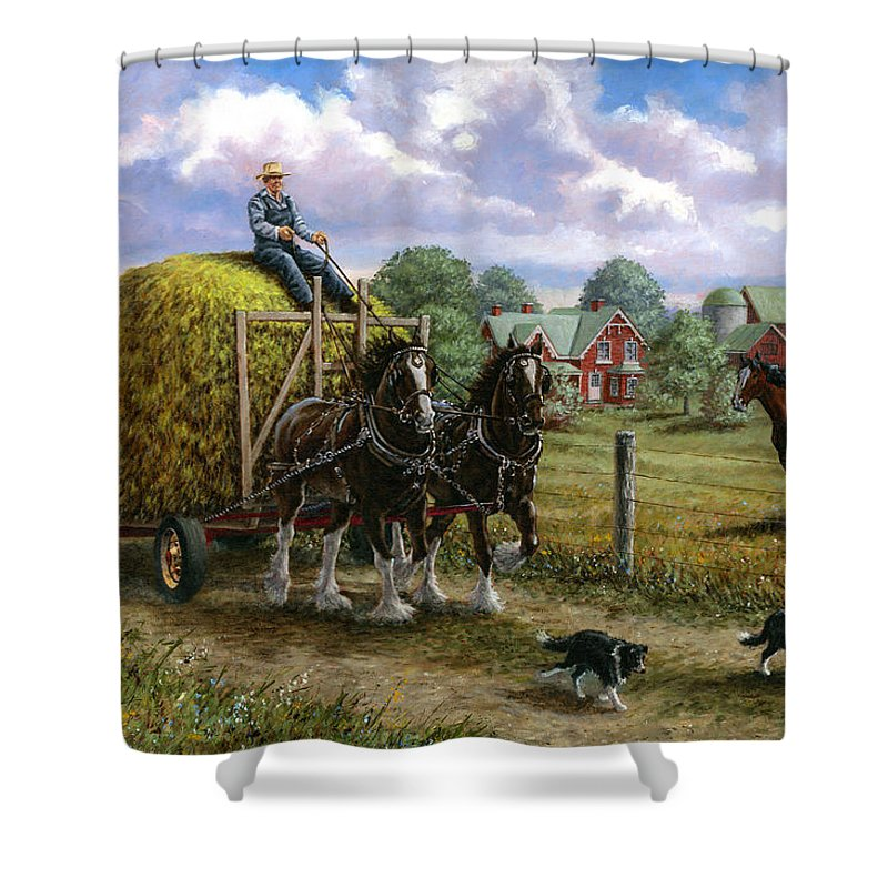 Farm Shower Curtain featuring the painting Heading For The Loft by Richard De Wolfe