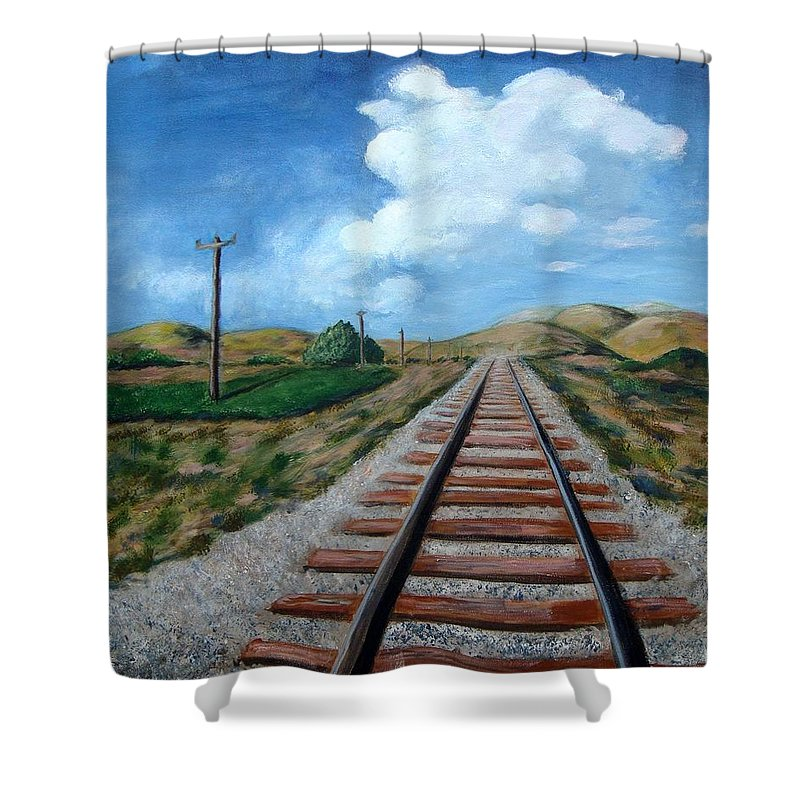 Railroad Tracks Shower Curtain featuring the painting Heading In The Right Direction by Laurie Morgan