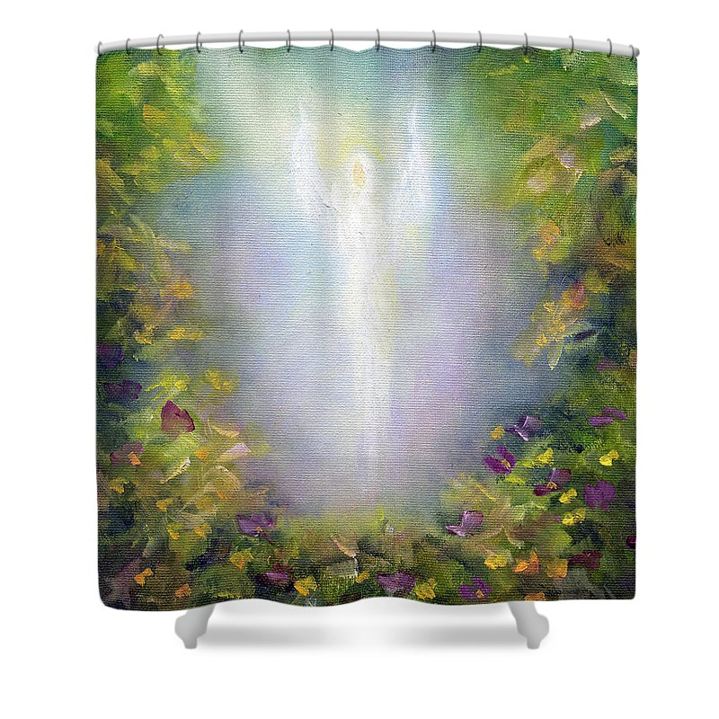 Angel Shower Curtain featuring the painting Healing Angel by Marina Petro