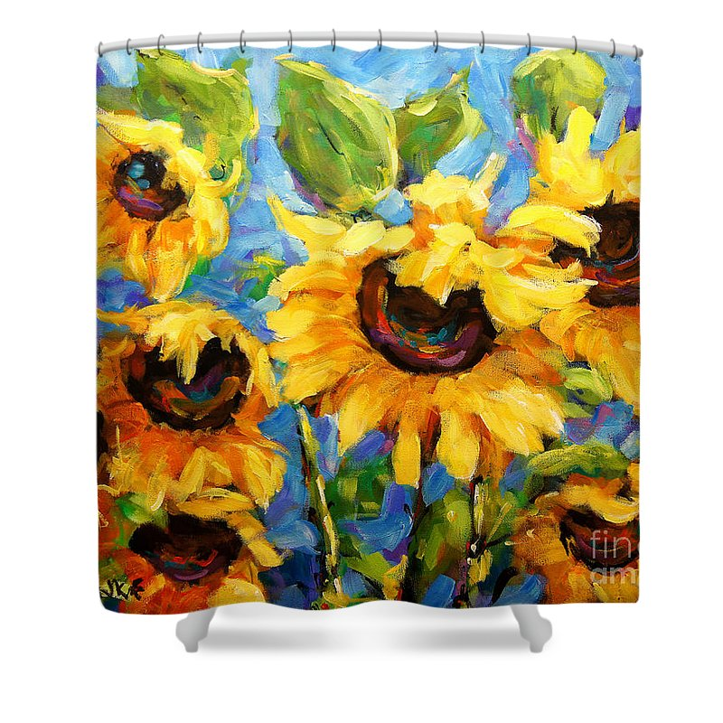 Floral Scene Montreal Shower Curtain featuring the painting Healing Light Of Sunflowers by Richard T Pranke