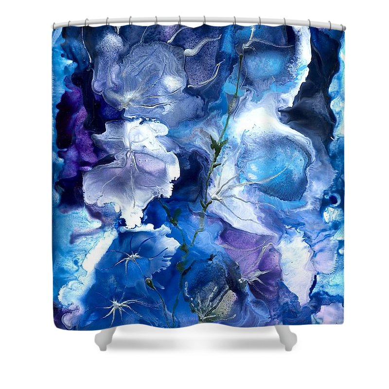 Healing Shower Curtain featuring the painting Healing With Blues by Heather Hennick