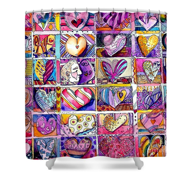 Love Shower Curtain featuring the painting Heart 2 Heart by Mindy Newman