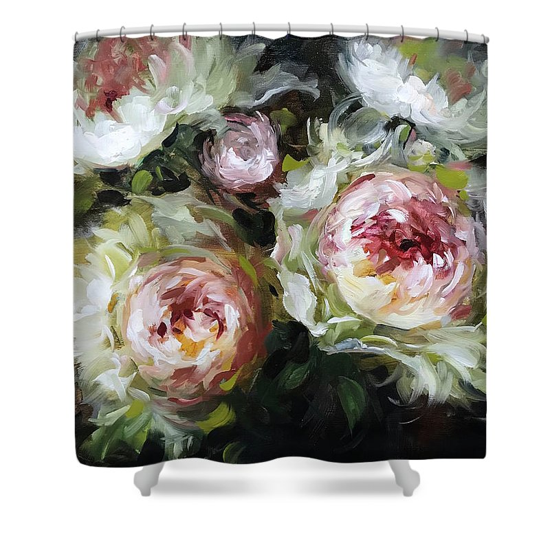 Peonies Shower Curtain Featuring The Painting Heart And Soul By Nancy Medina