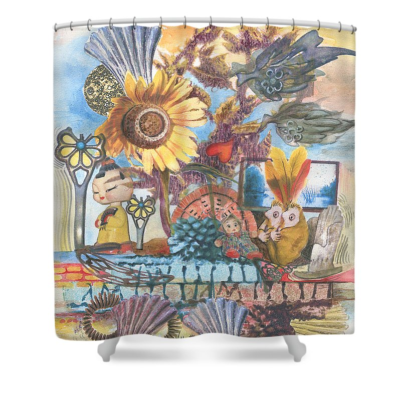 Abstract Shower Curtain featuring the painting Heart And Soul by Valerie Meotti