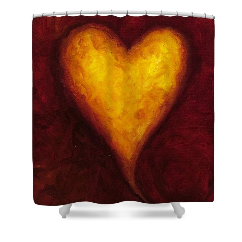 Heart Shower Curtain featuring the painting Heart Of Gold 1 by Shannon Grissom
