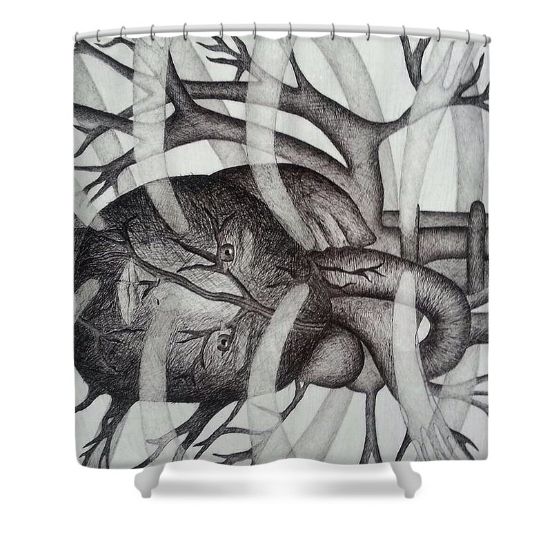 Heart Shower Curtain featuring the drawing Heart Of Man by Chaelin Lee