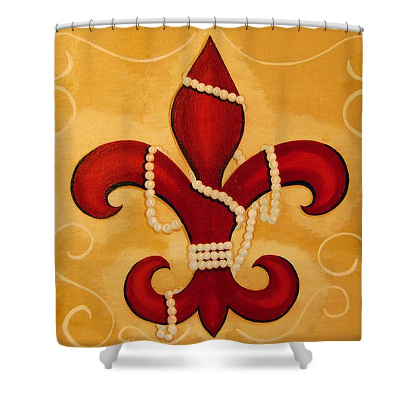 Fleur De Lis Shower Curtain featuring the painting Heart Of New Orleans by Valerie Carpenter