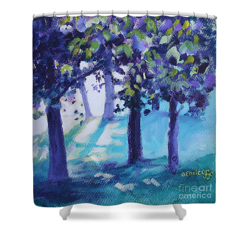 Expressionist Shower Curtain featuring the painting Heart Of The Forest by Jan Bennicoff