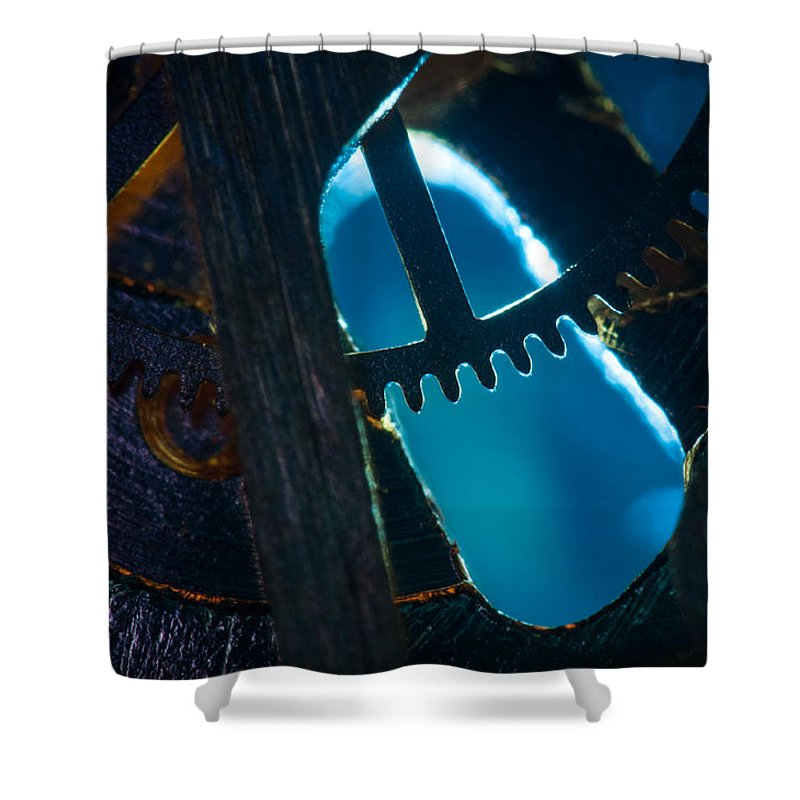 Macro Shower Curtain featuring the photograph Heart Of The Machine - Blue by Matt Hicks