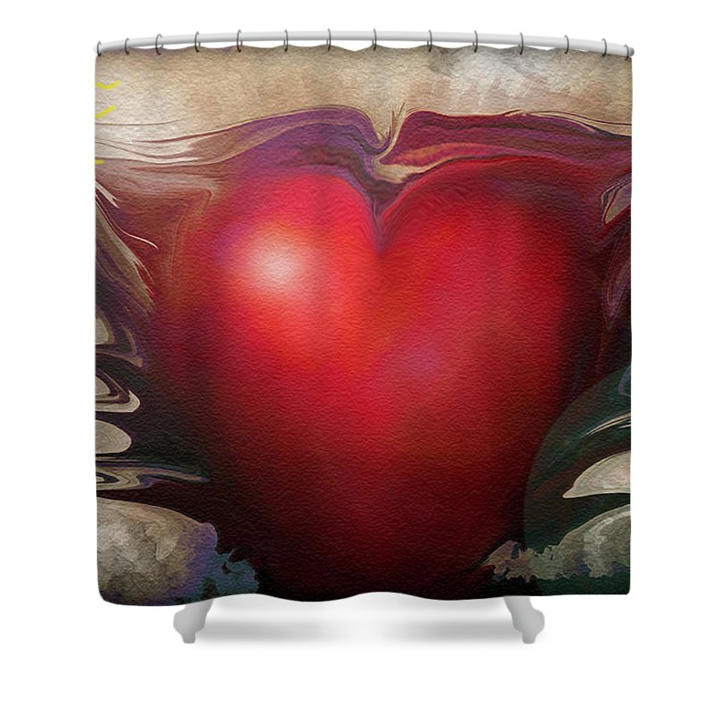 Abstracts Shower Curtain featuring the digital art Heart Of The Sunrise by Linda Sannuti