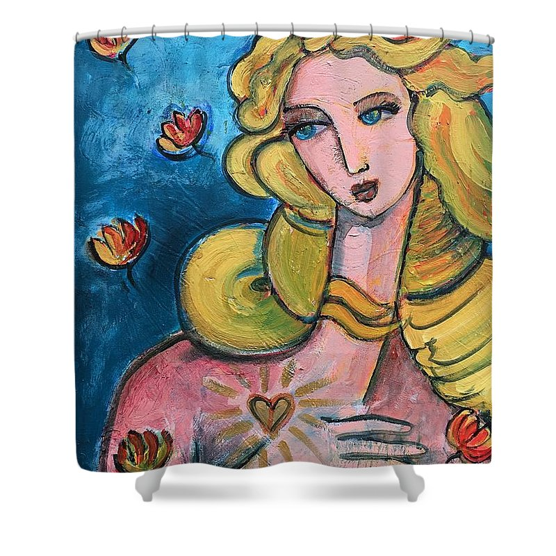 Venus Shower Curtain featuring the painting Heart Of Venus by Laurie Maves ART