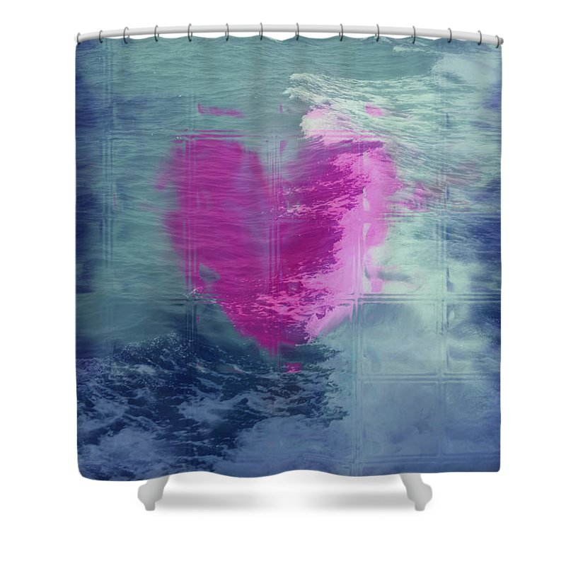 Hearts Shower Curtain featuring the digital art Heart Waves by Linda Sannuti