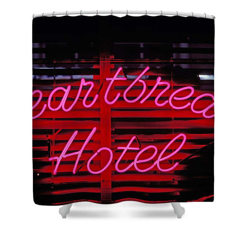 Heartbreak Hotel Neon Shower Curtain For Sale By Garry Gay