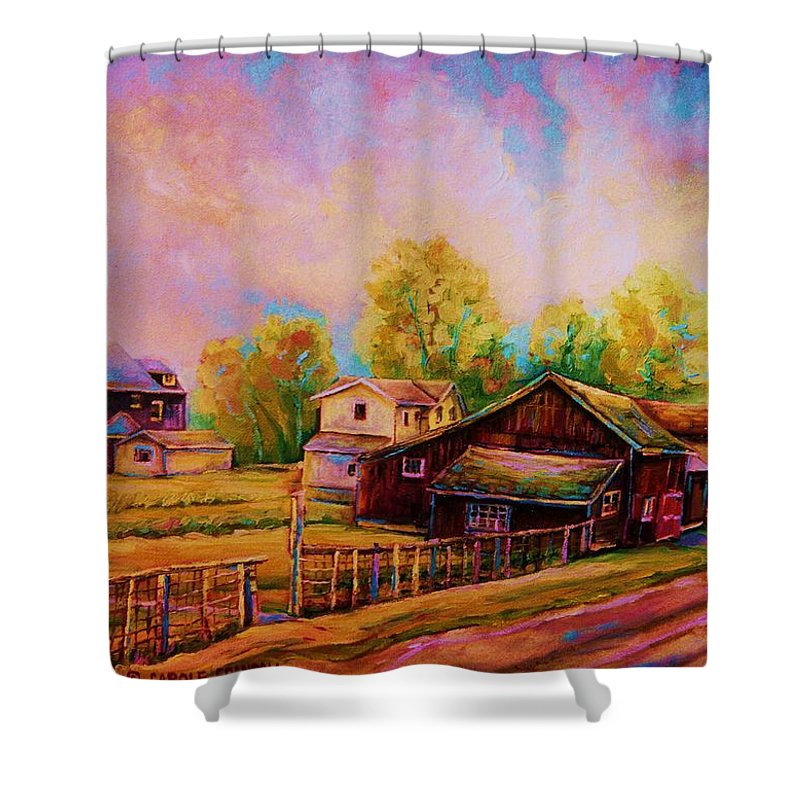 Landscape Shower Curtain featuring the painting Hearth And Home by Carole Spandau