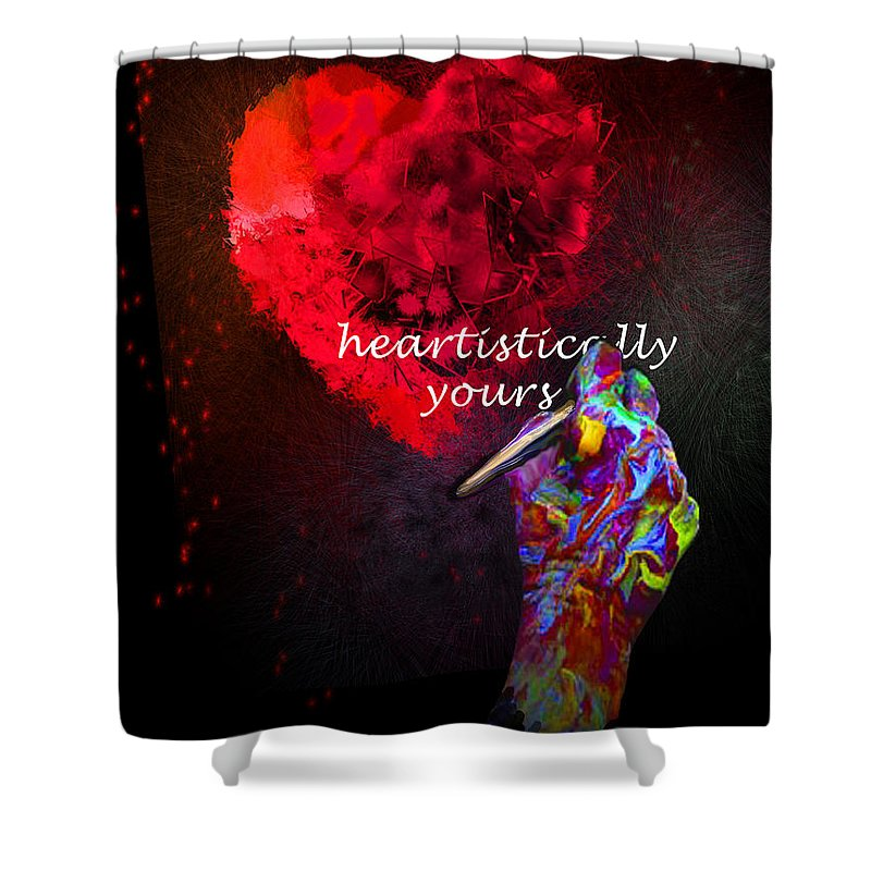 Valentine Shower Curtain featuring the painting Heartistically Yours by Miki De Goodaboom