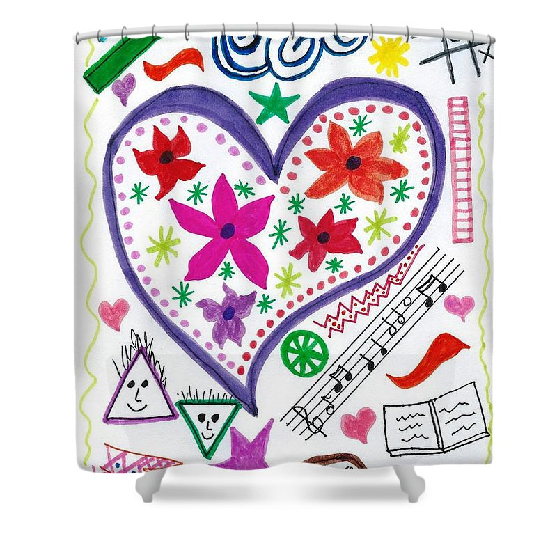 Doodle Art Shower Curtain featuring the drawing Hearts And Flowers by Susan Schanerman
