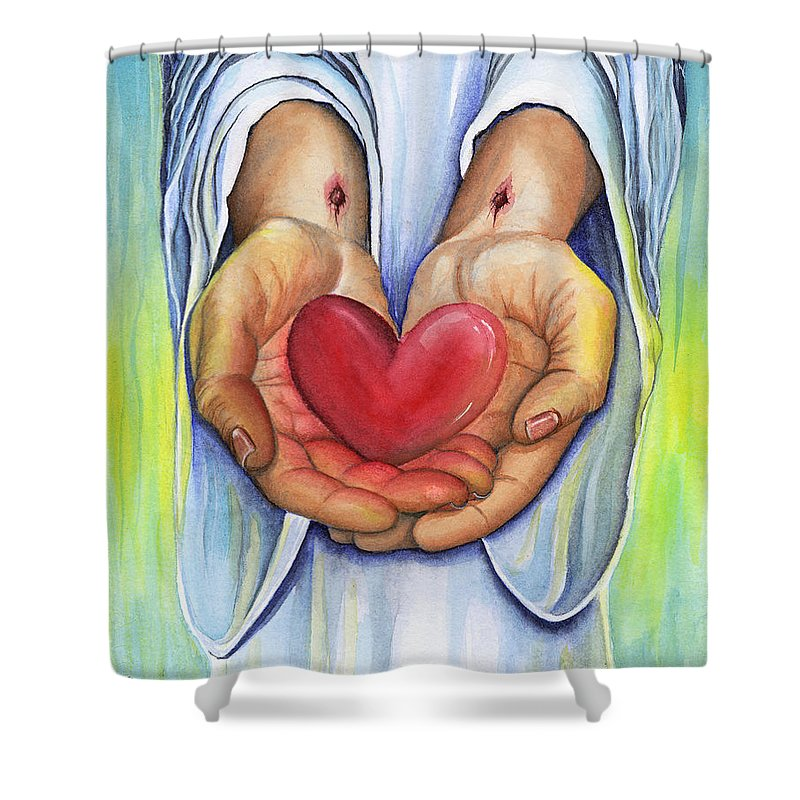 Jesus Shower Curtain featuring the painting Heart's Desire by Nancy Cupp
