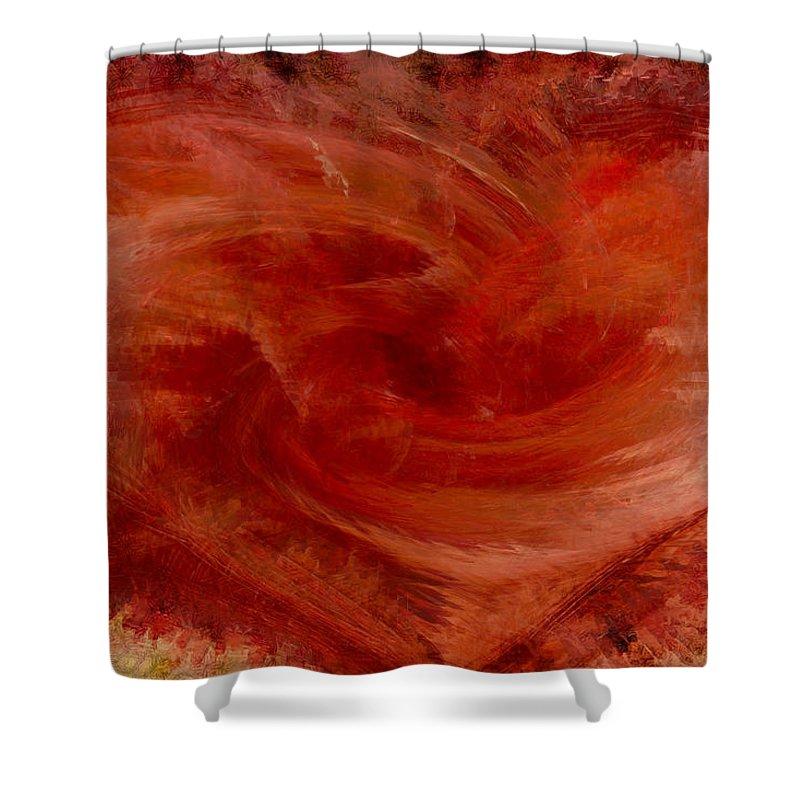 Heart Art Shower Curtain featuring the digital art Hearts Of Fire by Linda Sannuti