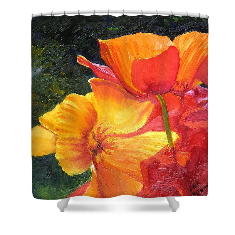 Flower Shower Curtain featuring the painting Hearts Of Poppies by Lea Novak