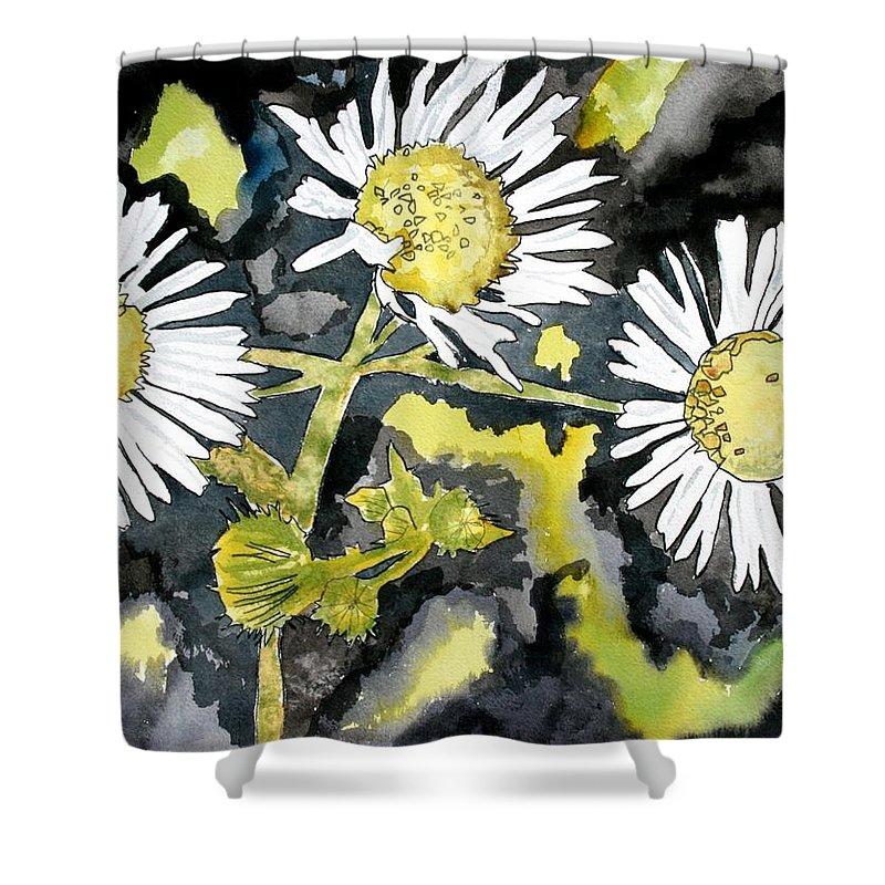 Wildflower Shower Curtain featuring the painting Heath Aster Flower Art Print by Derek Mccrea