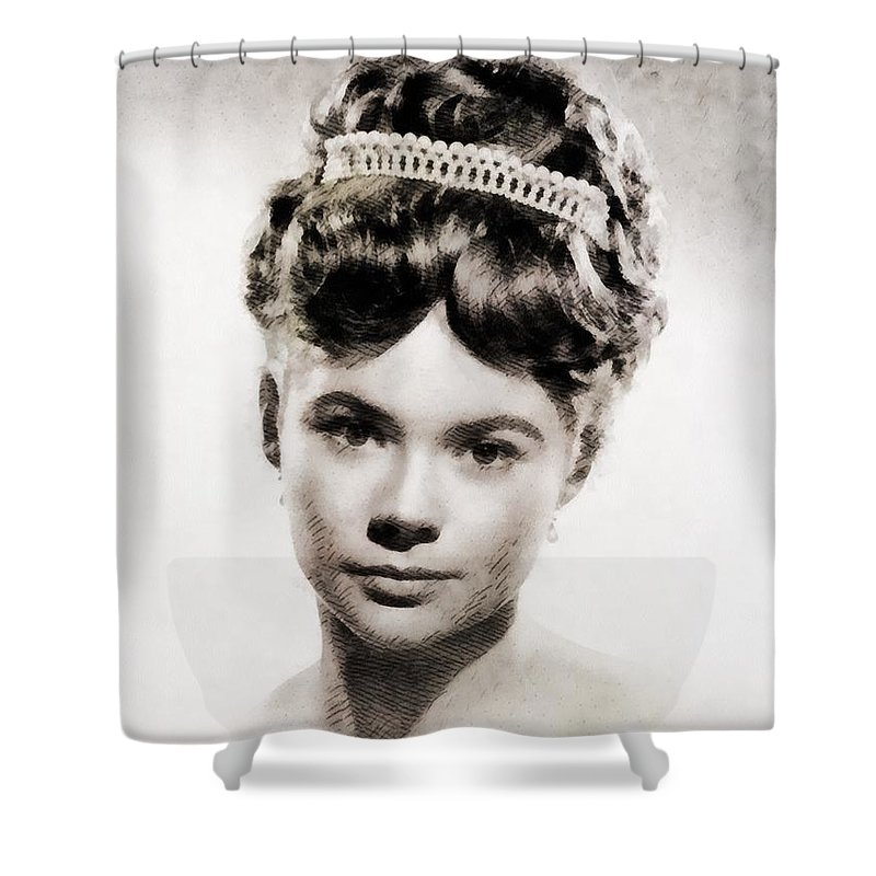 Hollywood Shower Curtain featuring the painting Heather Sears, Vintage Actress by John Springfield