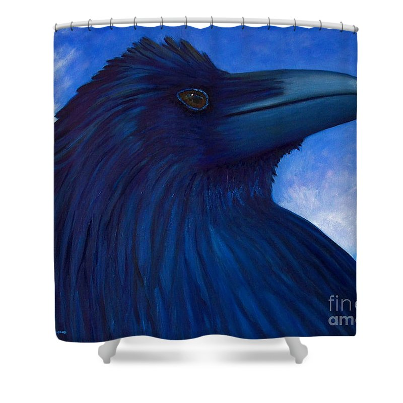 Raven Shower Curtain featuring the painting Heaven Bound by Brian Commerford