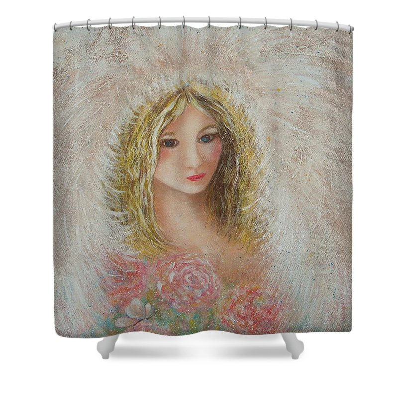 Angel Shower Curtain featuring the painting Heavenly Angel by Natalie Holland