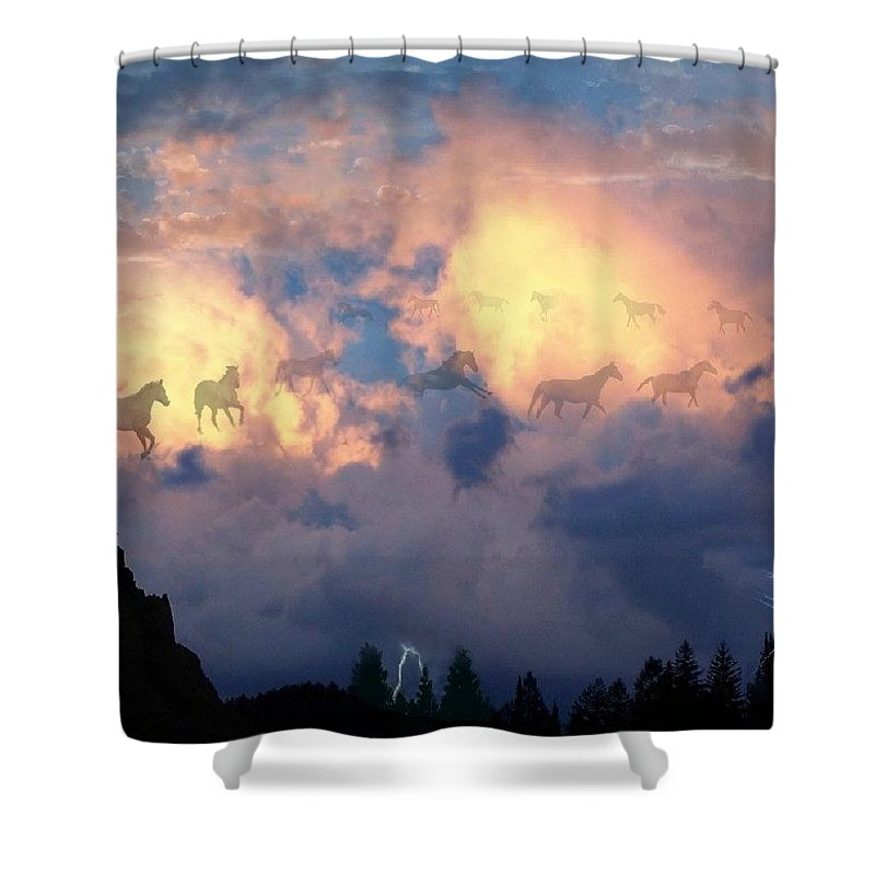 Horses Shower Curtain featuring the digital art Heavenly Carousel by Bill Stephens