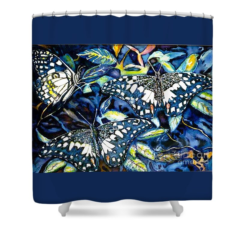 Butterfly Artwork Shower Curtain featuring the painting Heavenly Jewels by Norma Boeckler