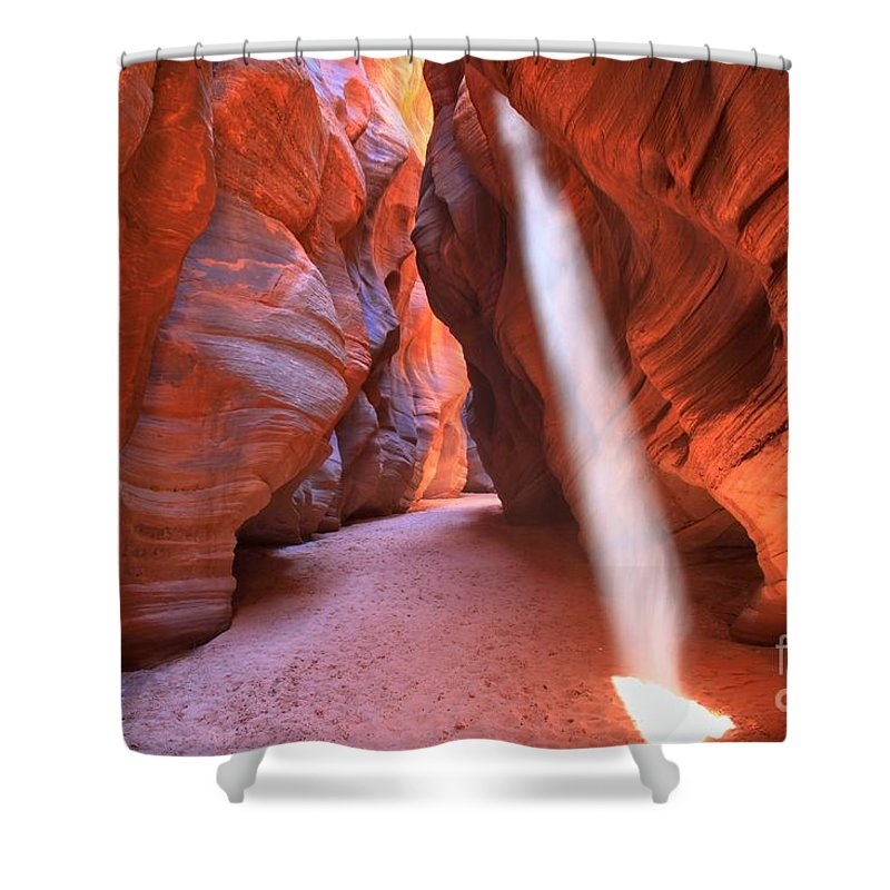 Buckskin Gulch Shower Curtain featuring the photograph Heavenly Light by Adam Jewell
