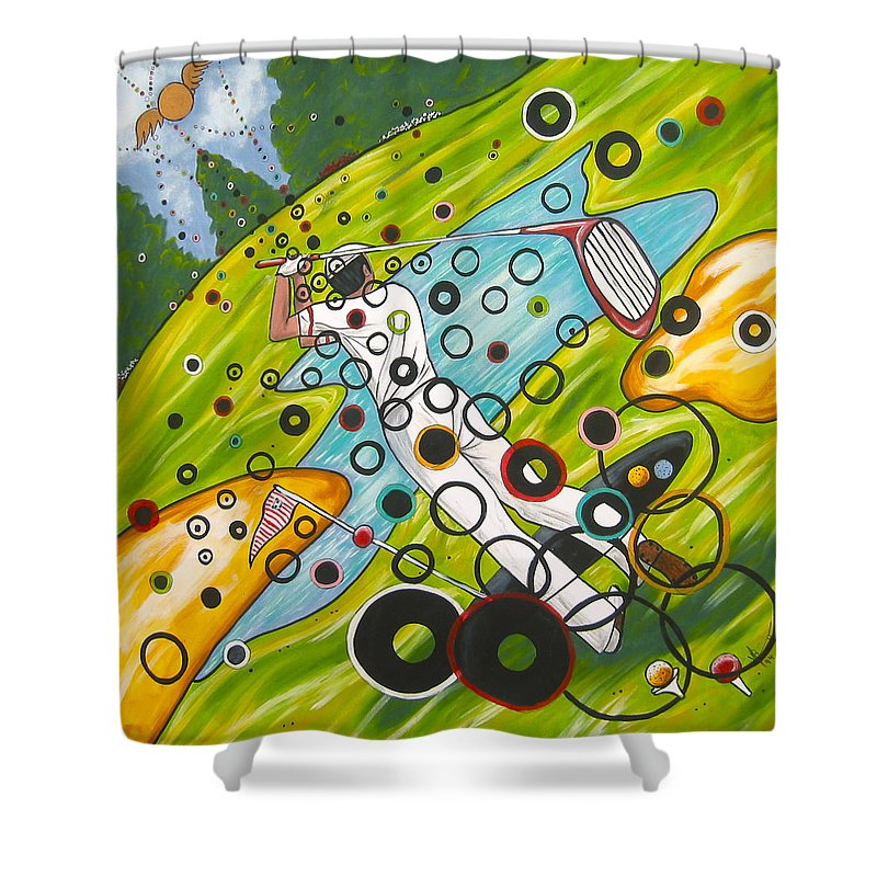 Golf Shower Curtain featuring the painting Heavenly Swing by V Boge