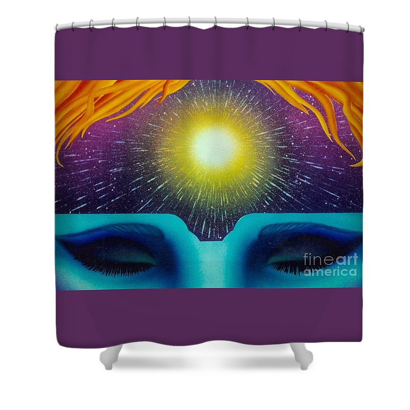 New Age Art Shower Curtain featuring the painting Heavens Door by Mark Beach