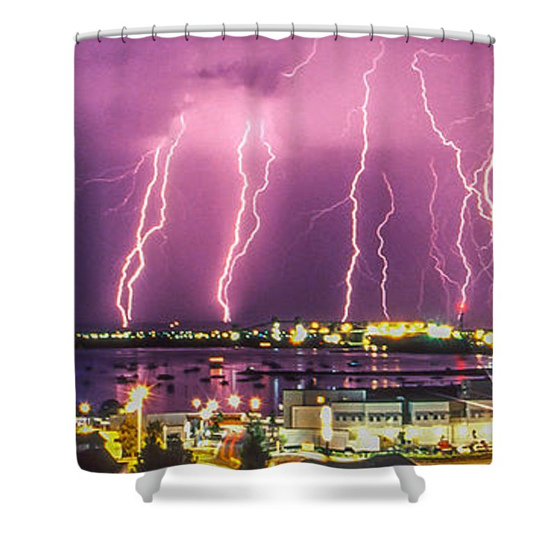 Lightning Shower Curtain featuring the photograph Heavens Power by Robert Caddy