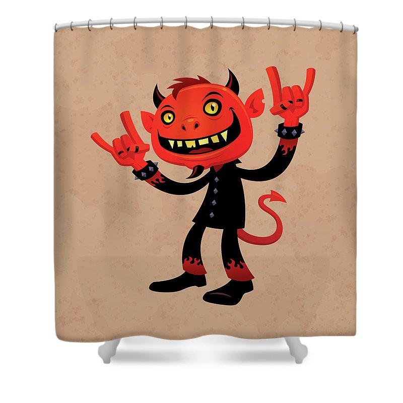 Heavy Metal Shower Curtain featuring the digital art Heavy Metal Devil by John Schwegel