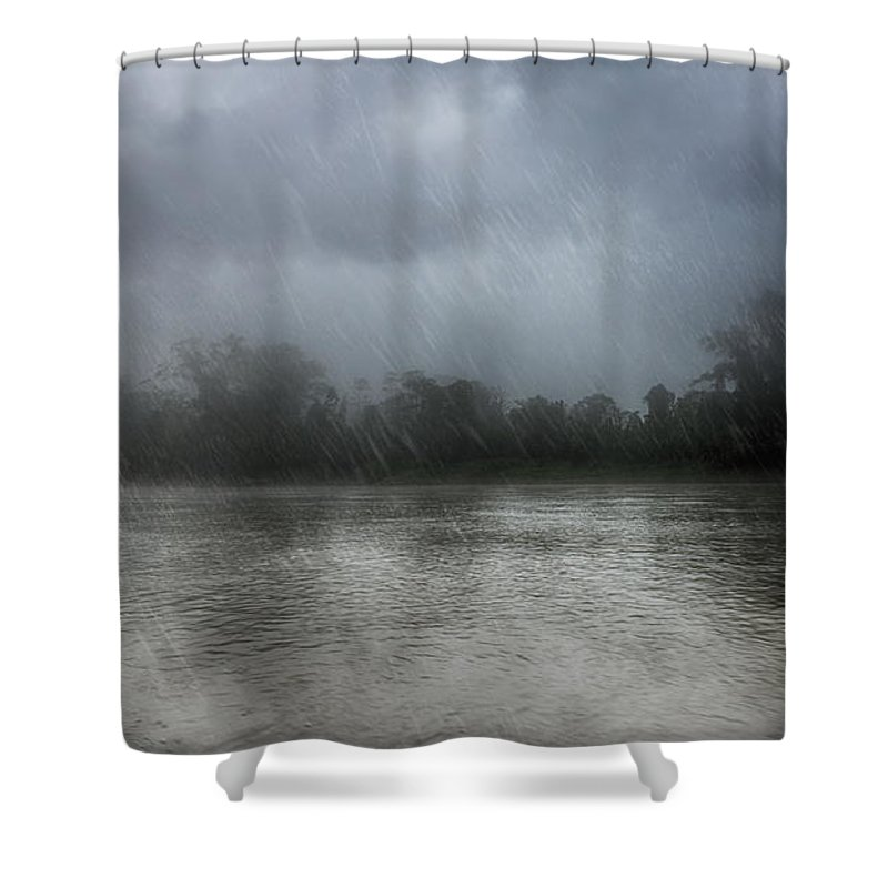 River Shower Curtain Featuring The Photograph Heavy Rain Over A By Nika Lerman