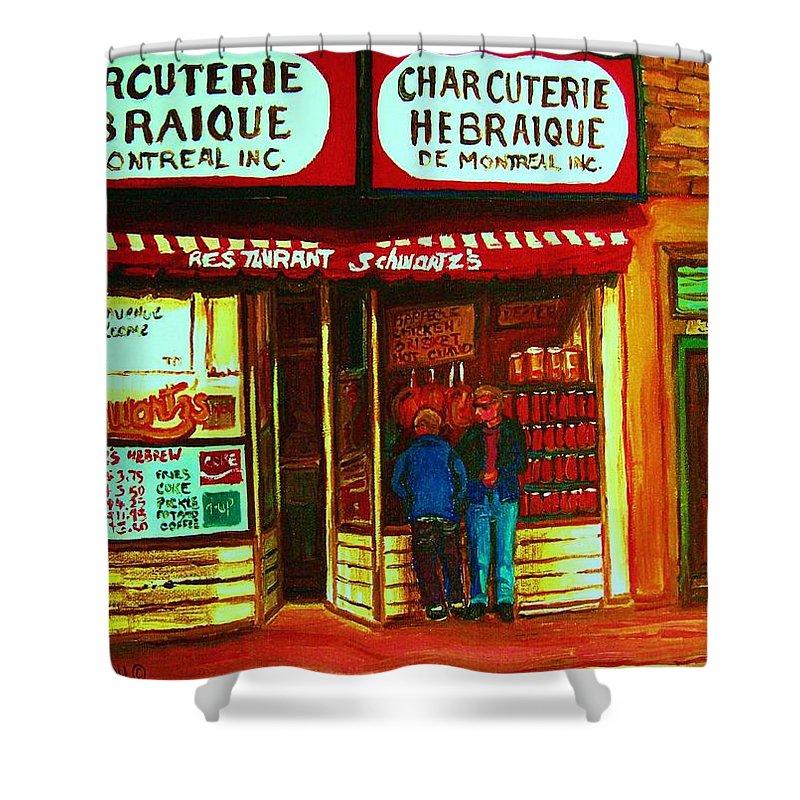 Schwartzs Shower Curtain featuring the painting Hebrew Delicatessen by Carole Spandau