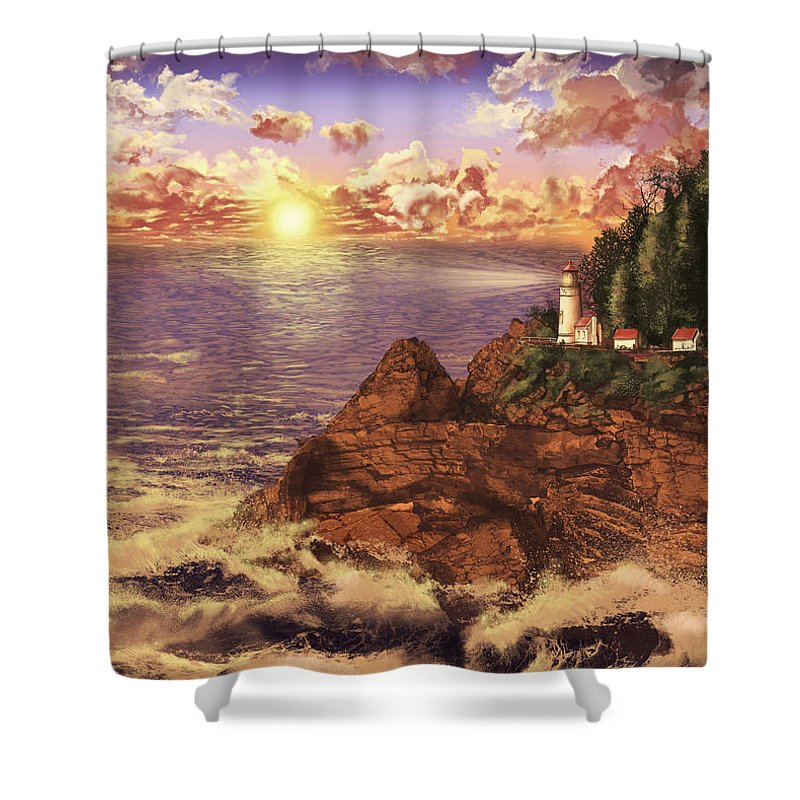 Lighthouse Shower Curtain featuring the painting Heceta Head Light by Bekim M