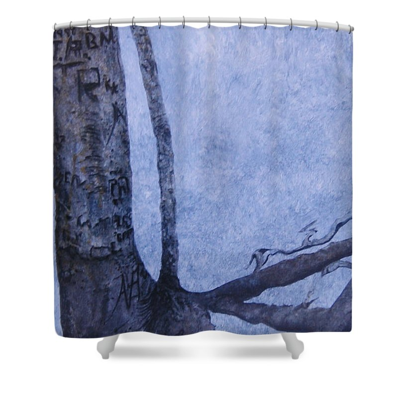 Tree Trunk Shower Curtain featuring the painting Hedden Park II by Leah Tomaino