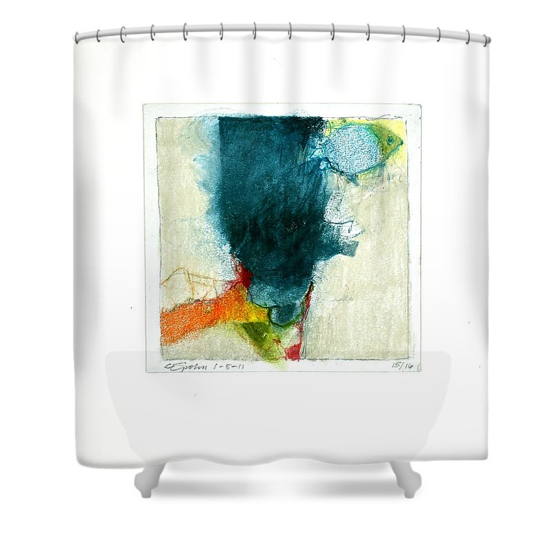 Abstract Shower Curtain featuring the drawing Hedgefishog --start-- by Cliff Spohn