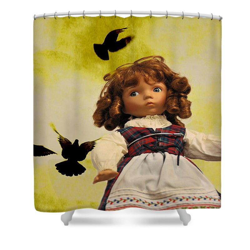 Fantasy Shower Curtain featuring the photograph Heidi And The Birds by Jan Amiss Photography