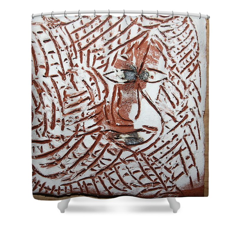 Jesus Shower Curtain featuring the ceramic art Heights - Tile by Gloria Ssali