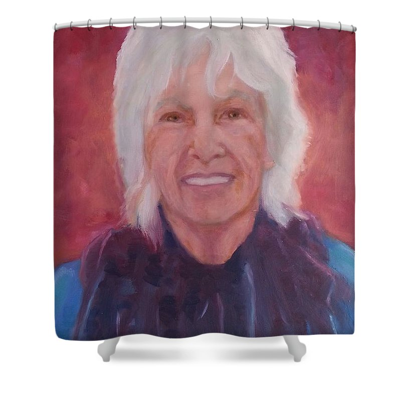 Portraits Shower Curtain featuring the painting Helen by Myrtle Joy