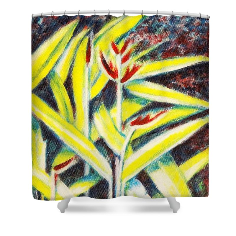 Heliconia Shower Curtain featuring the painting Heliconia 2 by Usha Shantharam