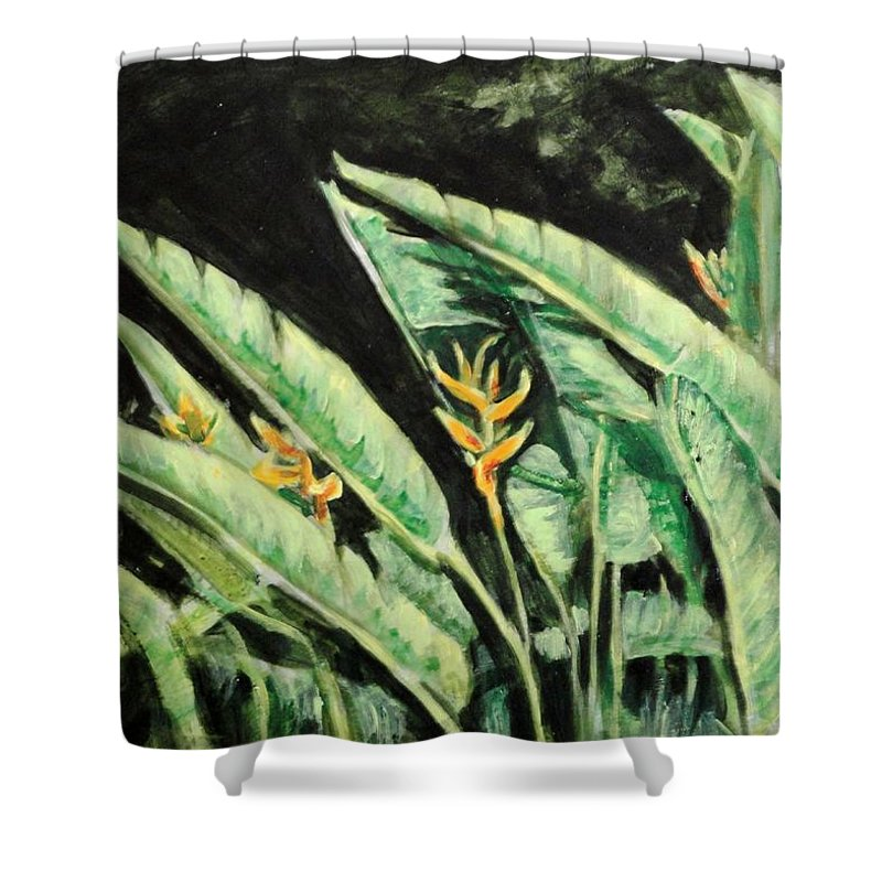 Heliconia Shower Curtain featuring the painting Heliconia Flower 7 by Usha Shantharam