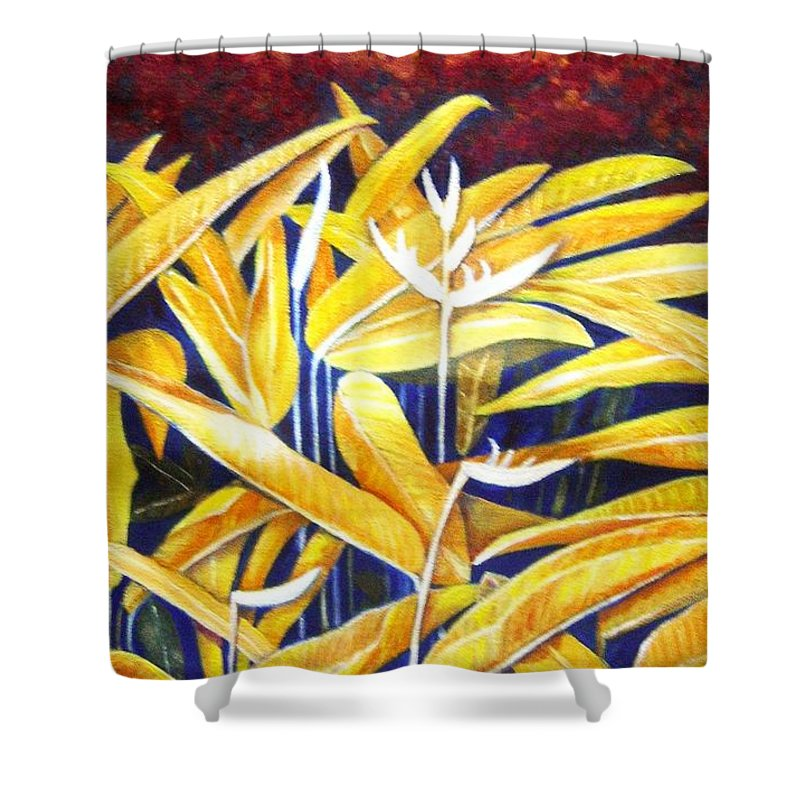 Heliconia Shower Curtain featuring the painting Heliconia by Usha Shantharam