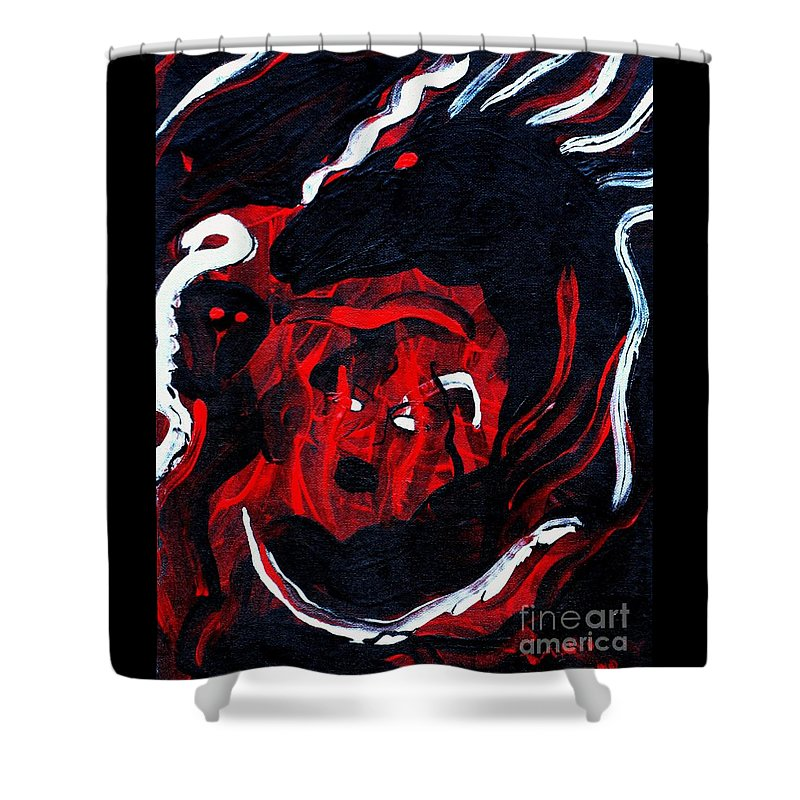 Horse Woman Red Black Silver Shower Curtain featuring the painting Hell Beast by Dawn Downour