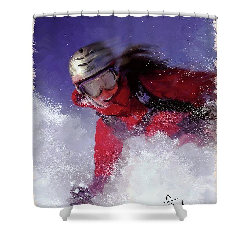 Ski Shower Curtain featuring the painting Hell Bent For Powder by Colleen Taylor