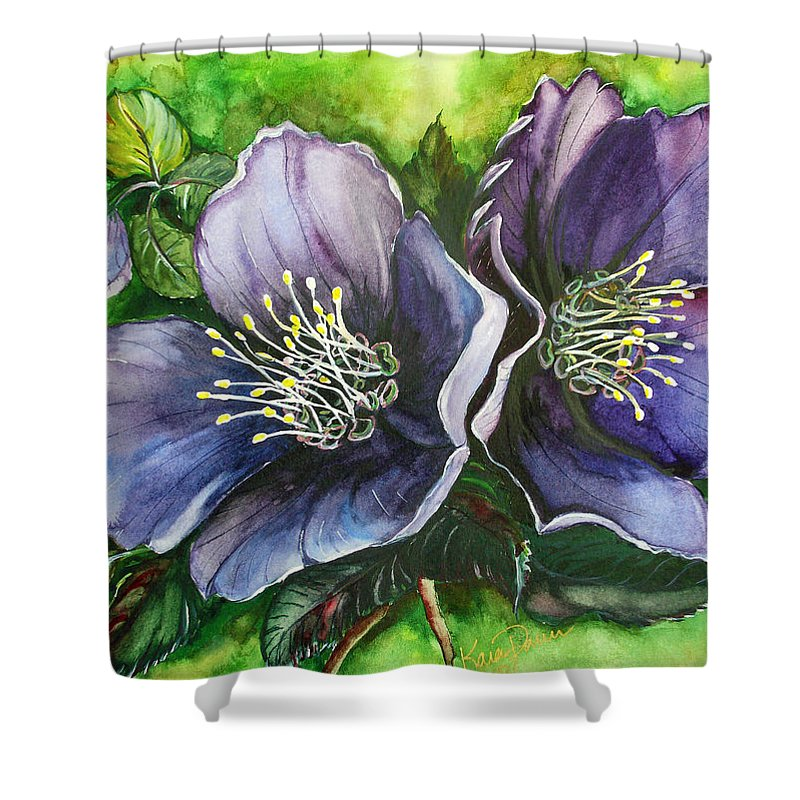 Flower Painting Botanical Painting Original W/c Painting Helleborous Painting Shower Curtain featuring the painting Helleborous Blue Lady by Karin Dawn Kelshall- Best