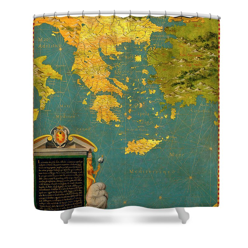 Map Shower Curtain featuring the painting Hellenic Peninsula Greece, Albania, Bosnia And Bulgaria by Italian painter of the 16th century